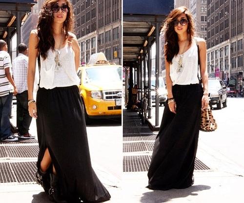 tenue de ville avec jupe longue
