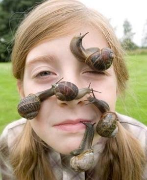 escargot sur le visage